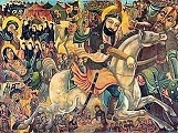 late 19th-early 20th century --- A painting of the Battle of Karbala, which took place on October 10, 680 A.D., in present day Iraq. The battle consisted of the large army of Umayyad Caliph Yazid fighting against 72 soldiers fighting with Imam Husayn, a grandson of the prophet Muhammed. Iman Husayn was killed during this battle. | Located in: Brooklyn Museum.  --- Image by © Brooklyn Museum/Corbis
