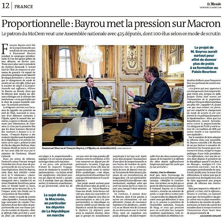 Le Monde 23 mars 2018