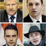"A combination made in Paris on May 26, 2014 of eight files pictures shows (from L to R, top to bottom), chairman of the True Finns party Timo Soini, leader of the German neo-Nazi party NPD Udo Voigt, Greece's Golden Dawn spokesman and parliament member Ilias Kasidiaris, United Kingdom Independence Party (UKIP) leader Nigel Farage, leader of right-wing Austrian Freedom Party (FPOe) party Heinz-Christian Strache, Chairman of Hungarian far-right parliamentary JOBBIK (Better) party Gabor Vona, Danish Peoples Party's Morten Messerschmidt and France's far-right National Front (FN) leader Marine Le Pen. France's far-right National Front and Britain's UKIP led a eurosceptic ""earthquake"" in EU parliamentary polls, sending shockwaves across Europe and beyond. The EU Parliament's own projections showed the extent of the anti-EU breakthrough, with eurosceptic parties set to win around 140 seats in the 751-seat assembly. AFP PHOTO"